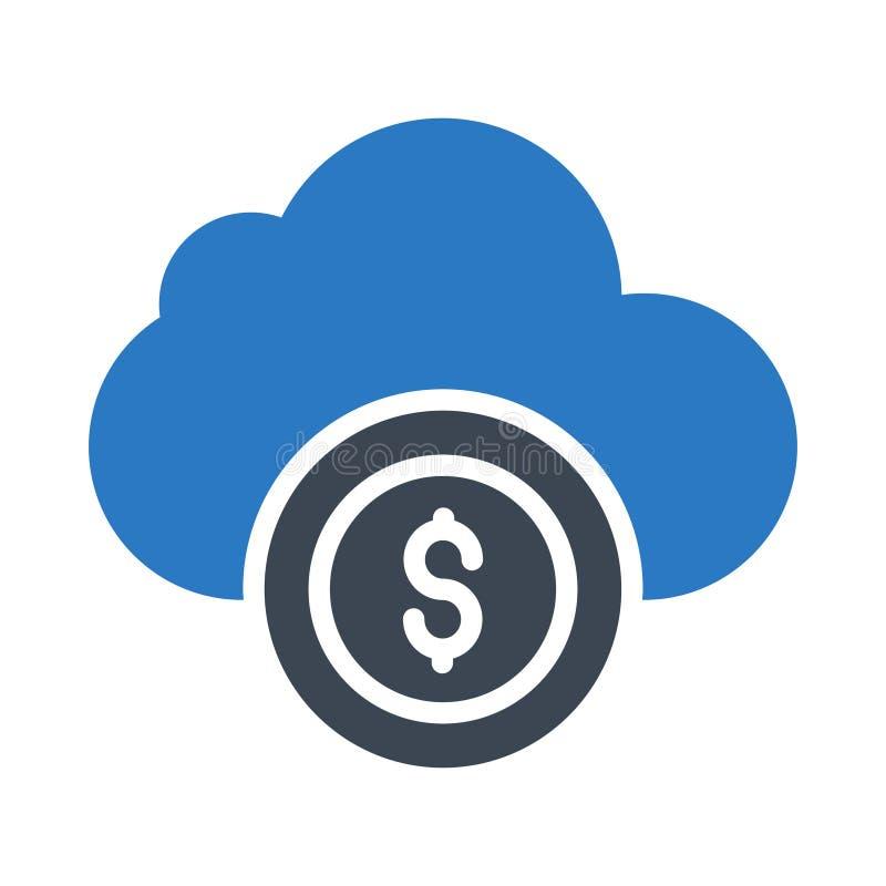 icona piana di vettore di colore di glifo del dollaro della nuvola illustrazione vettoriale