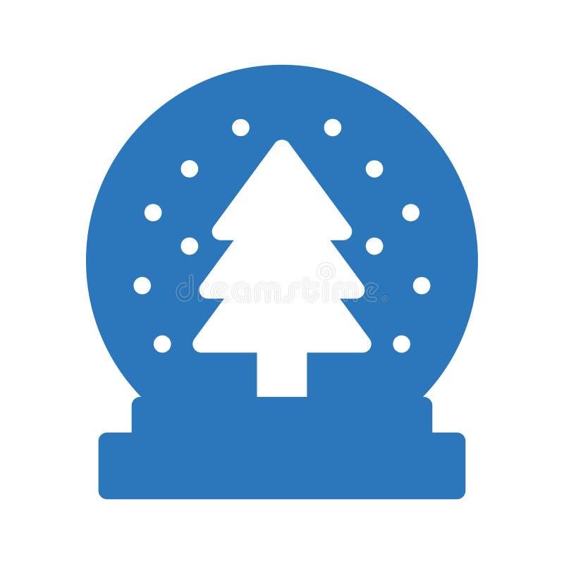 Icona piana di vettore di colore di glifo del globo della neve illustrazione vettoriale