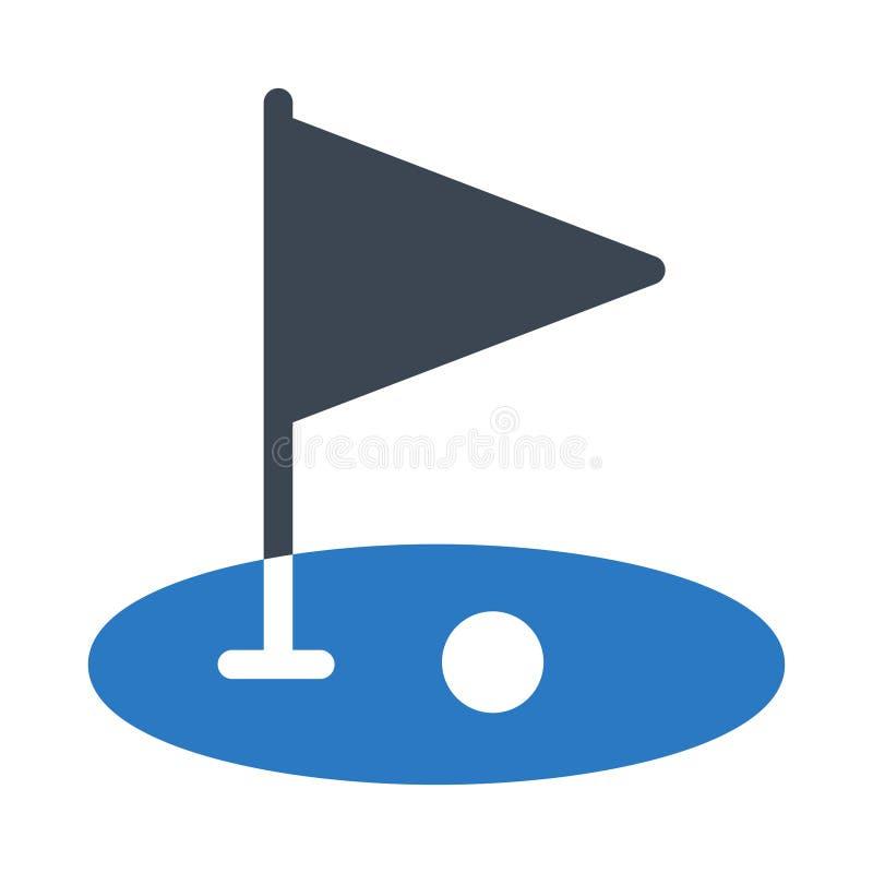 Icona piana di vettore di colore di glifo di golf illustrazione vettoriale