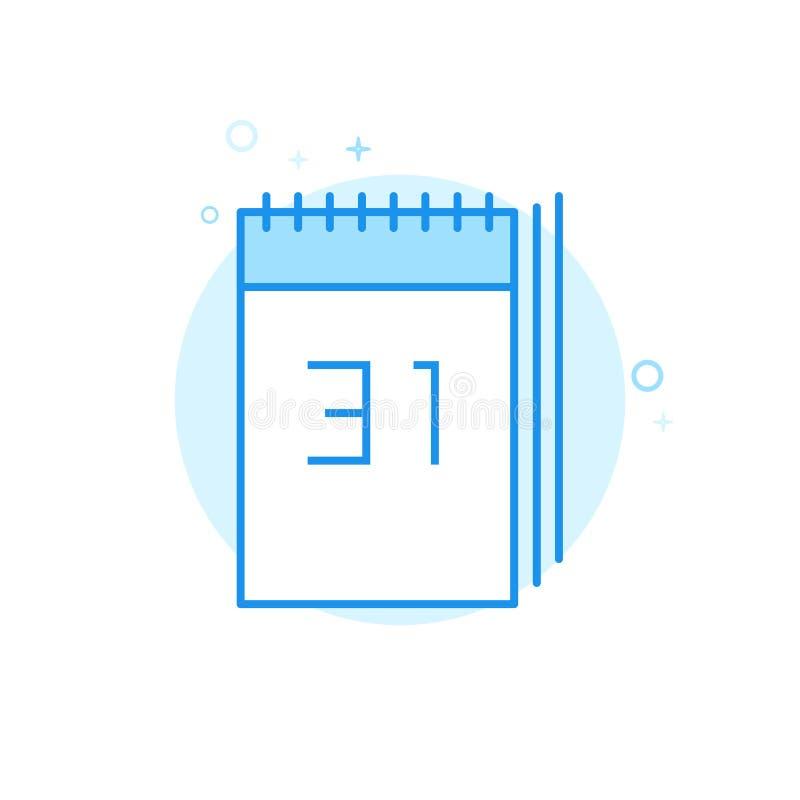 Icona piana di vettore del calendario del nuovo anno, simbolo, pittogramma, segno Progettazione monocromatica blu-chiaro Colpo ed illustrazione vettoriale