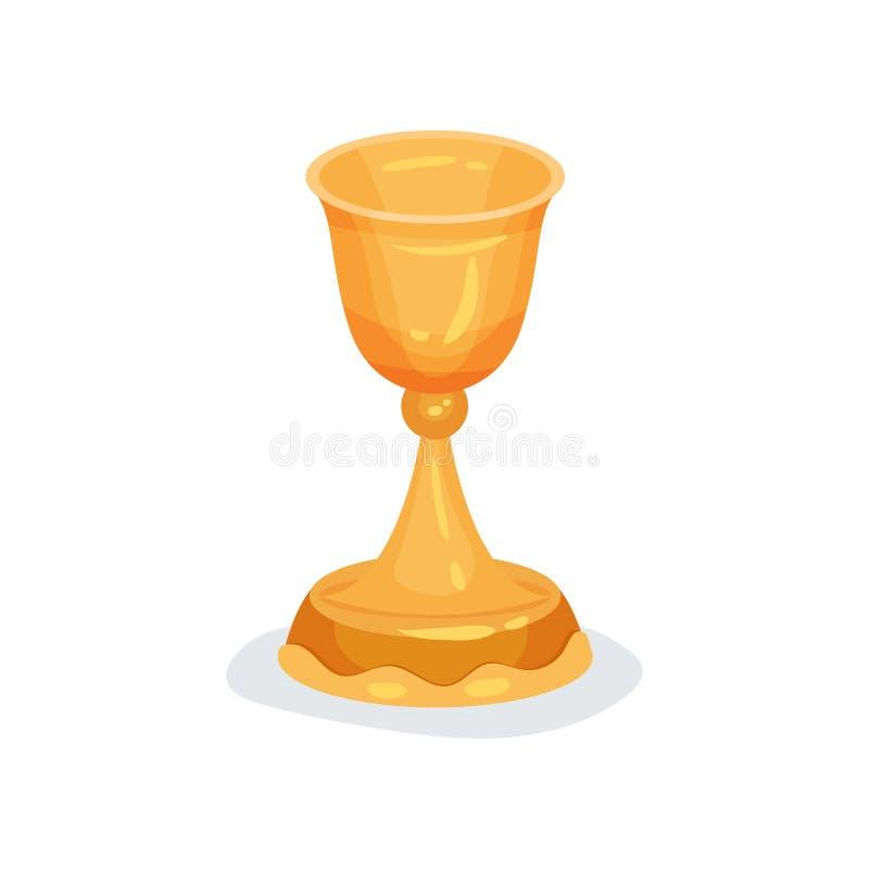 Icona piana di vettore del calice dorato utilizzata nelle cerimonie cristiane Nave per vino sacramentale o santo liturgica royalty illustrazione gratis