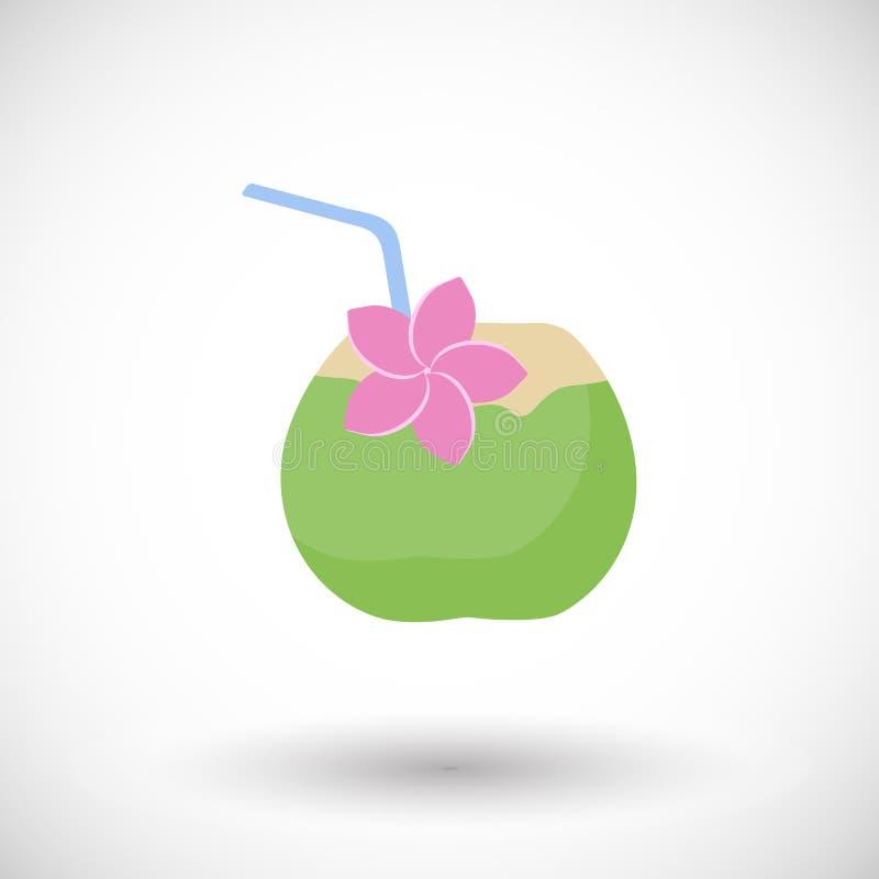 Icona piana di vettore del cocktail della noce di cocco illustrazione vettoriale