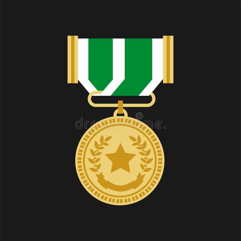 Icona piana di vettore del gallone del premio della medaglia del veterano o del campione illustrazione vettoriale