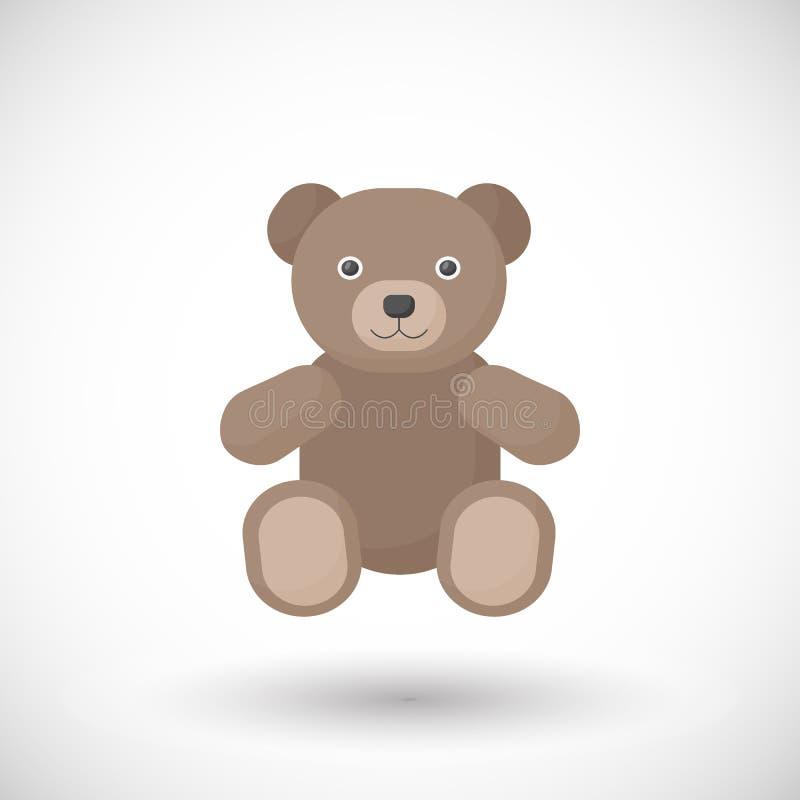 Icona piana di vettore del giocattolo dell'orsacchiotto illustrazione vettoriale