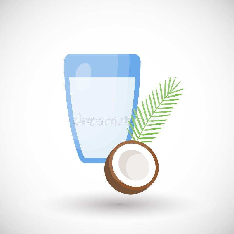 Icona piana di vettore del latte di cocco illustrazione di stock