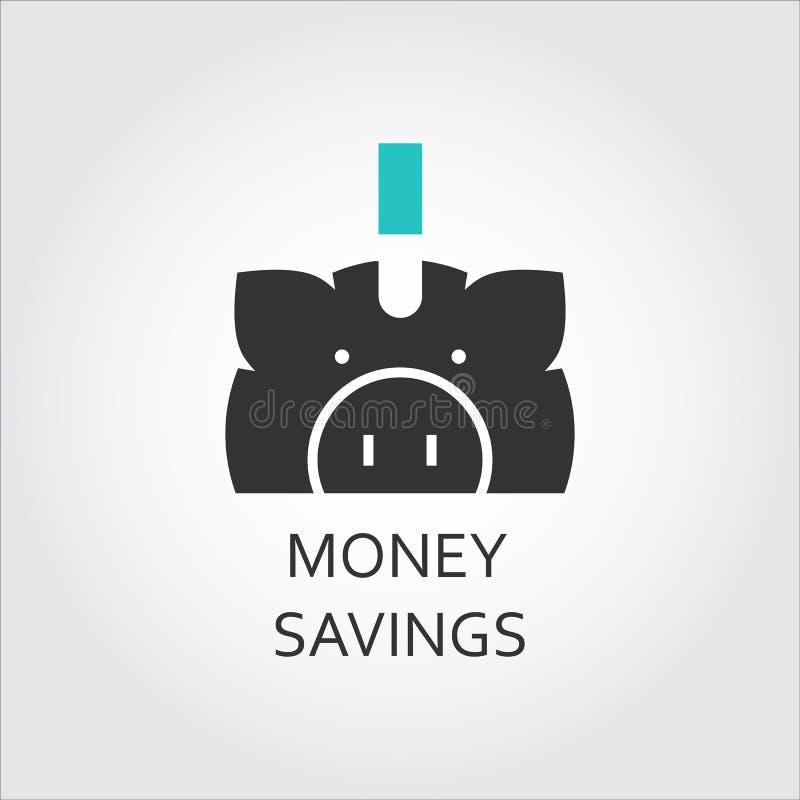 Icona piana di vettore del risparmio dei soldi come porcellino salvadanaio illustrazione vettoriale