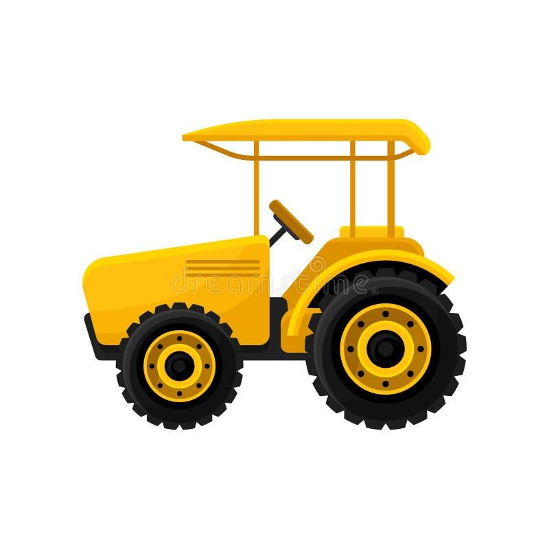 Icona piana di vettore del trattore aperto giallo luminoso Macchinario agricolo Strumentazione dell'azienda agricola Veicolo per  illustrazione vettoriale