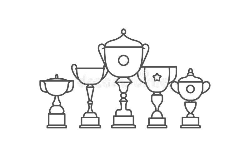 Icona piana di vettore dell'icona della tazza del vincitore del trofeo Insieme piano dell'icona di vettore del premio illustrazione vettoriale