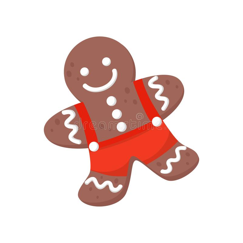 Icona piana di vettore dell'uomo di pan di zenzero decorata con glassa colorata Biscotto delizioso di Natale Tema dolce dell'alim illustrazione di stock