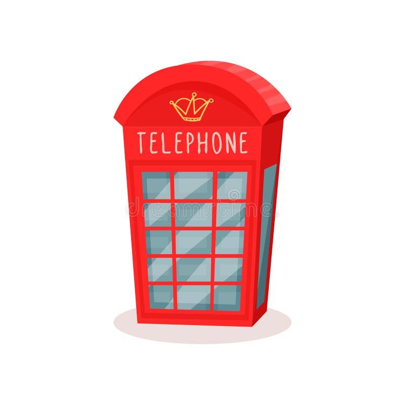 Icona piana di vettore della cabina telefonica rossa Simbolo famoso dell'Inghilterra Corsa a Londra Casella di chiamata pubblica illustrazione di stock