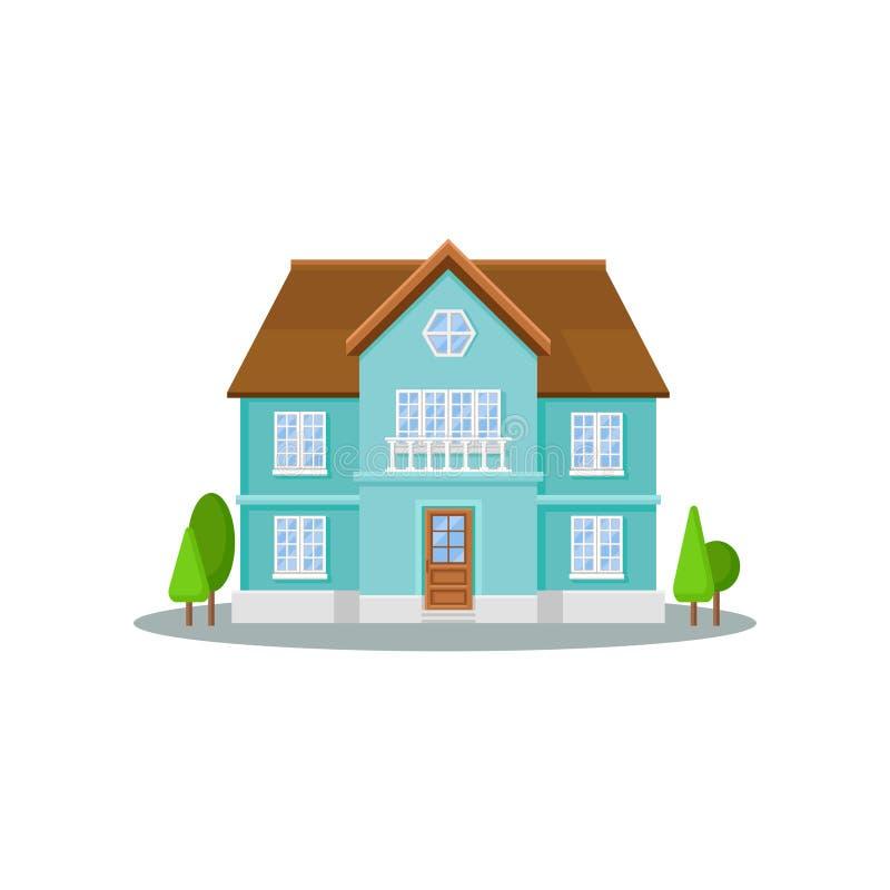 Icona piana di vettore della casa a tre livelli con le grandi finestre, la porta di legno ed il tetto Esterno del cottage residen illustrazione vettoriale