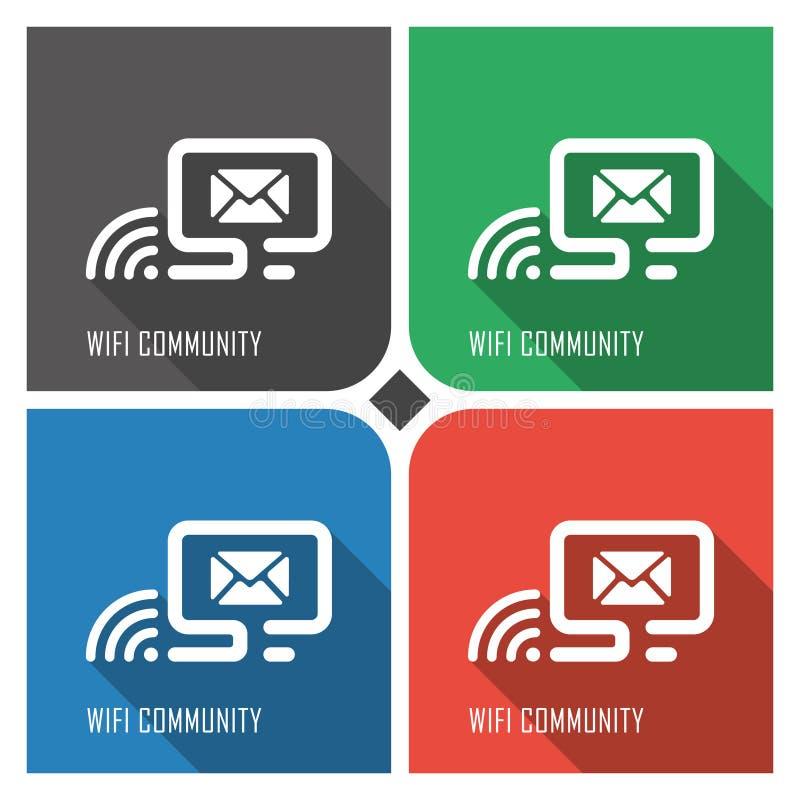 Icona piana di vettore della comunità di Wifi su fondo variopinto icone semplici eps8 di web del PC illustrazione vettoriale