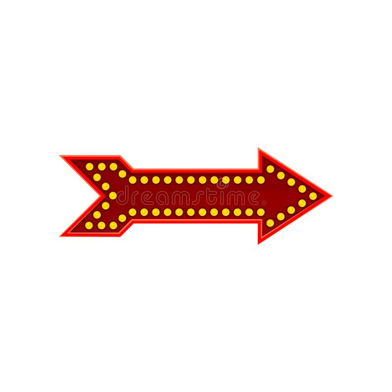 Icona piana di vettore della freccia rossa luminosa Segnale di direzione con le lampade gialle dei diodi Elemento per il gioco mo royalty illustrazione gratis