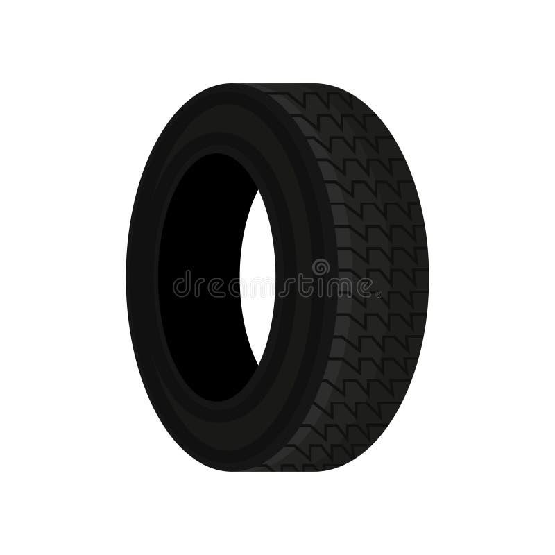 Icona piana di vettore della gomma di automobile nera con il modello del passo Tema dell'automobile Elemento da vendere il manife illustrazione di stock