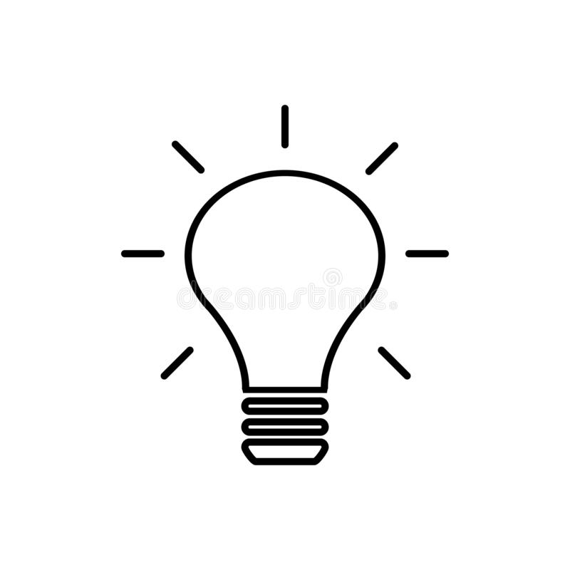 Icona piana di vettore della lampada della lampadina isolata su fondo bianco per progettazione grafica, logo, sito Web, media soc royalty illustrazione gratis