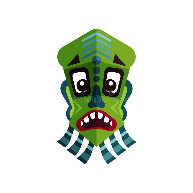 Icona piana di vettore della maschera zulù Simbolo antico delle tribù africane Fronte dell'uomo verde s con l'ornamento tradizion illustrazione di stock