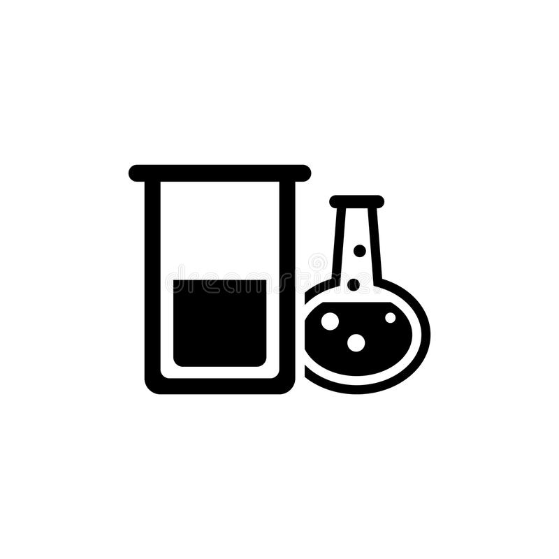 Icona piana di vettore della metropolitana chimica della prova di laboratorio royalty illustrazione gratis
