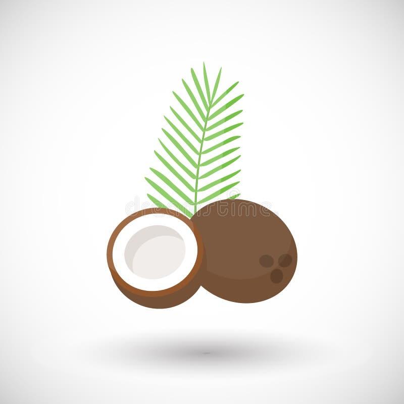 Icona piana di vettore della noce di cocco illustrazione vettoriale