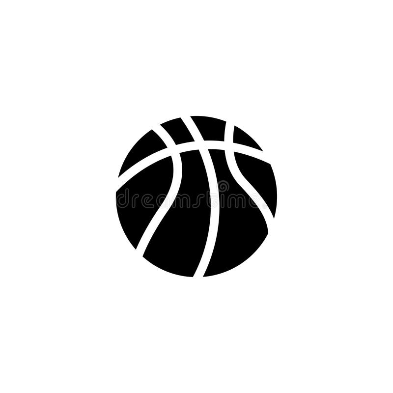 Icona piana di vettore della palla di pallacanestro immagini stock