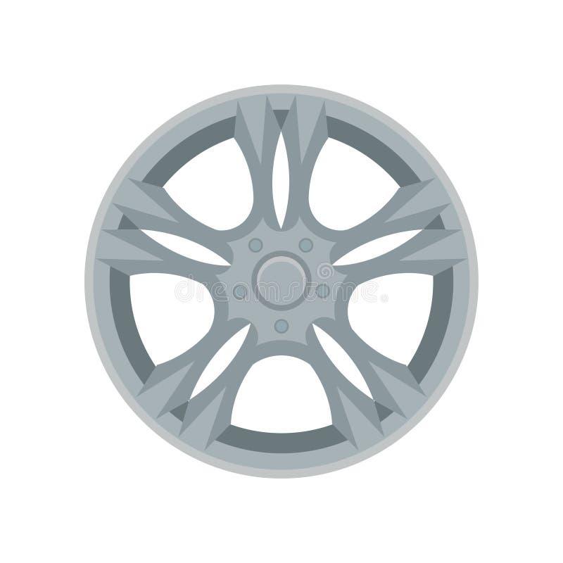 Icona piana di vettore della ruota della lega Disco grigio dell'automobile Elemento per la pubblicità insegna o del manifesto del illustrazione vettoriale