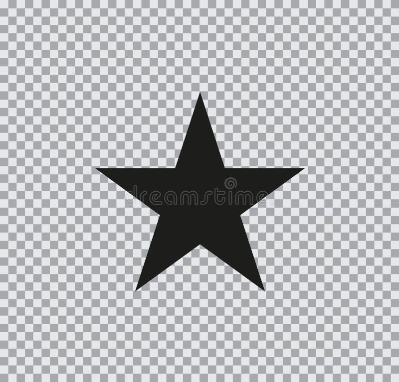 Icona piana di vettore della stella su fondo trasparente illustrazione di stock