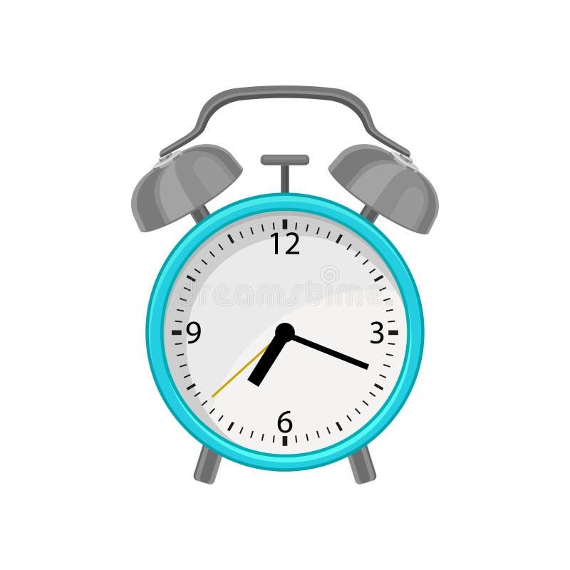 Icona piana di vettore della sveglia con la cassa blu luminosa, il quadrante bianco, il martello grigio del metallo e le campane  illustrazione vettoriale
