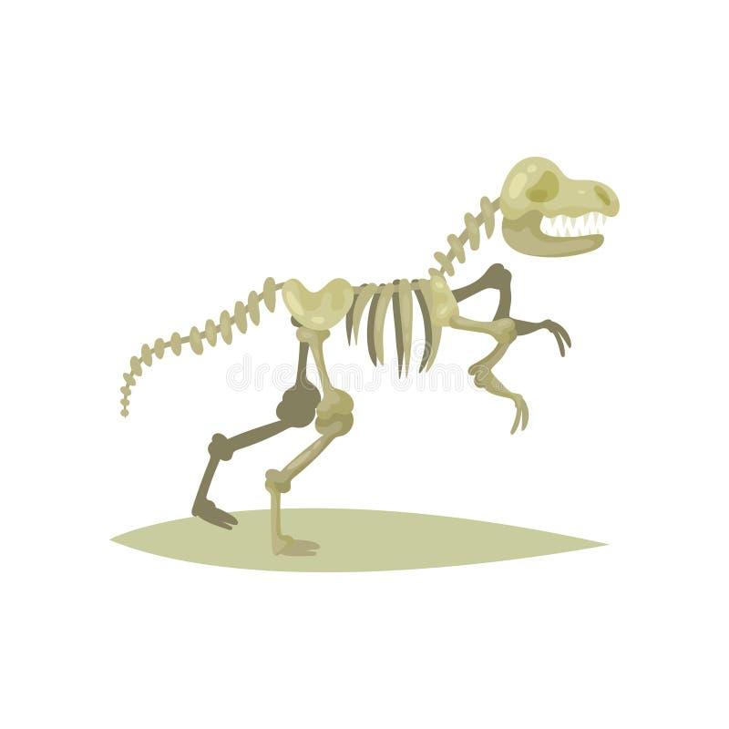 Icona piana di vettore dello scheletro del dinosauro Tirannosauro Rex Ossa del rettile preistorico Mostra fossile Museo antico illustrazione vettoriale
