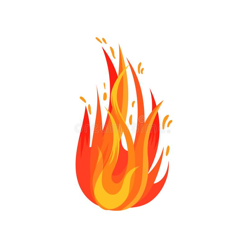 Icona piana di vettore di fuoco rosso-arancio Fuoco brillantemente ardente Simbolo della temperatura calda Elemento del fumetto p illustrazione vettoriale