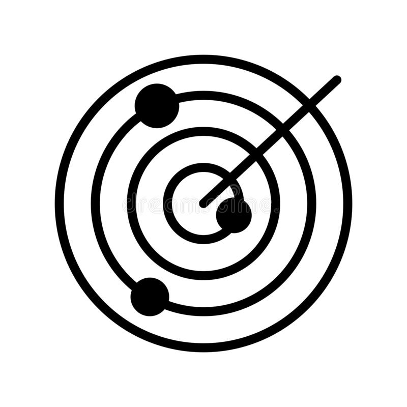 Icona piana di vettore di glifo del radar illustrazione di stock