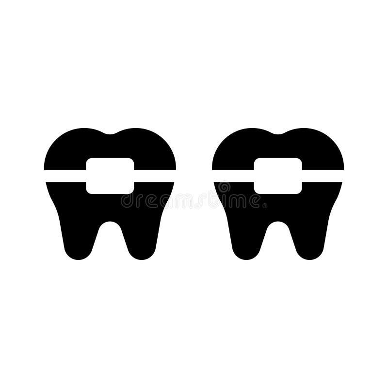 Icona piana di vettore di glifo dentario illustrazione di stock