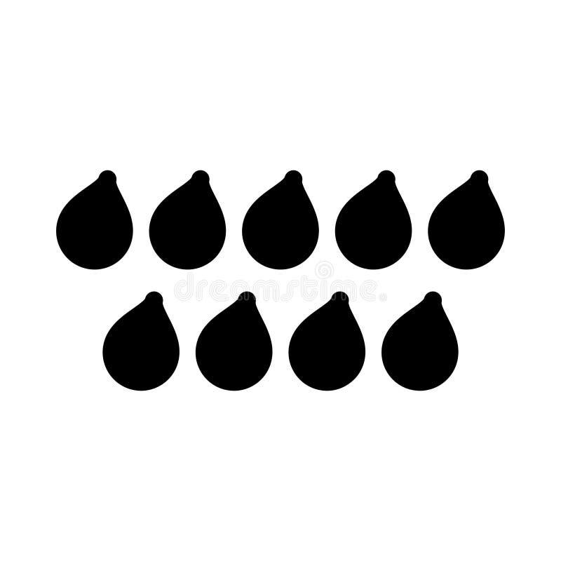 Icona piana di vettore di glifo di gocce illustrazione di stock