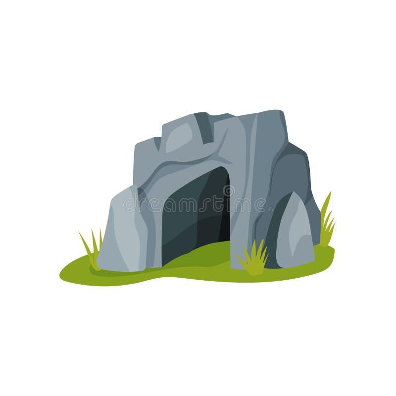 Icona piana di vettore di grande caverna di gray isolata su fondo bianco Tema di età della pietra Casa della gente primitiva illustrazione vettoriale