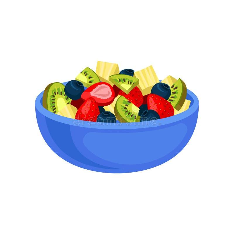 Icona piana di vettore di macedonia appetitosa Kiwi ed ananas affettato, fragola succosa e mirtillo in ceramico blu illustrazione vettoriale