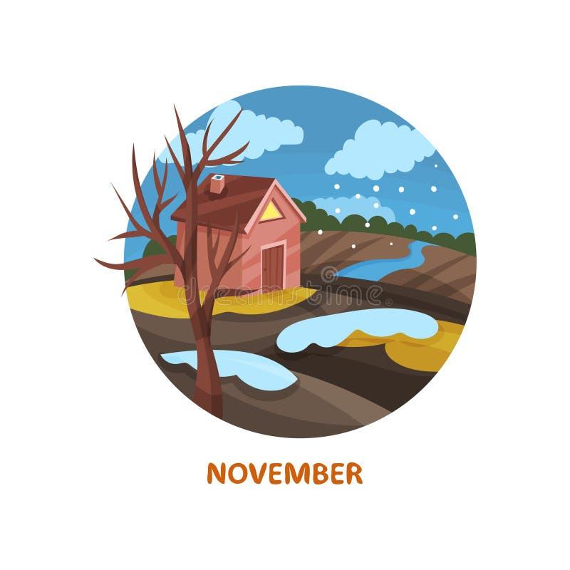 Icona piana di vettore nella forma del cerchio con la casetta, l'albero, il fiume, le nuvole nevose ed il campo Mese di novembre  royalty illustrazione gratis