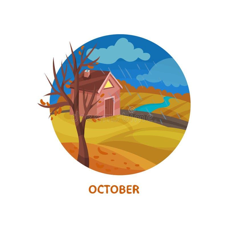 Icona piana di vettore nella forma del cerchio con poca casa, l'albero con le foglie cadute, il fiume ed il campo Giorno piovoso  royalty illustrazione gratis