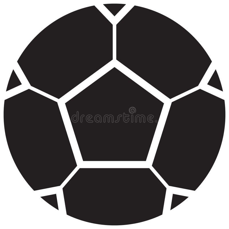 Icona piana di vettore relativo semplice del pallone da calcio Stile di glifo 128x12 illustrazione vettoriale