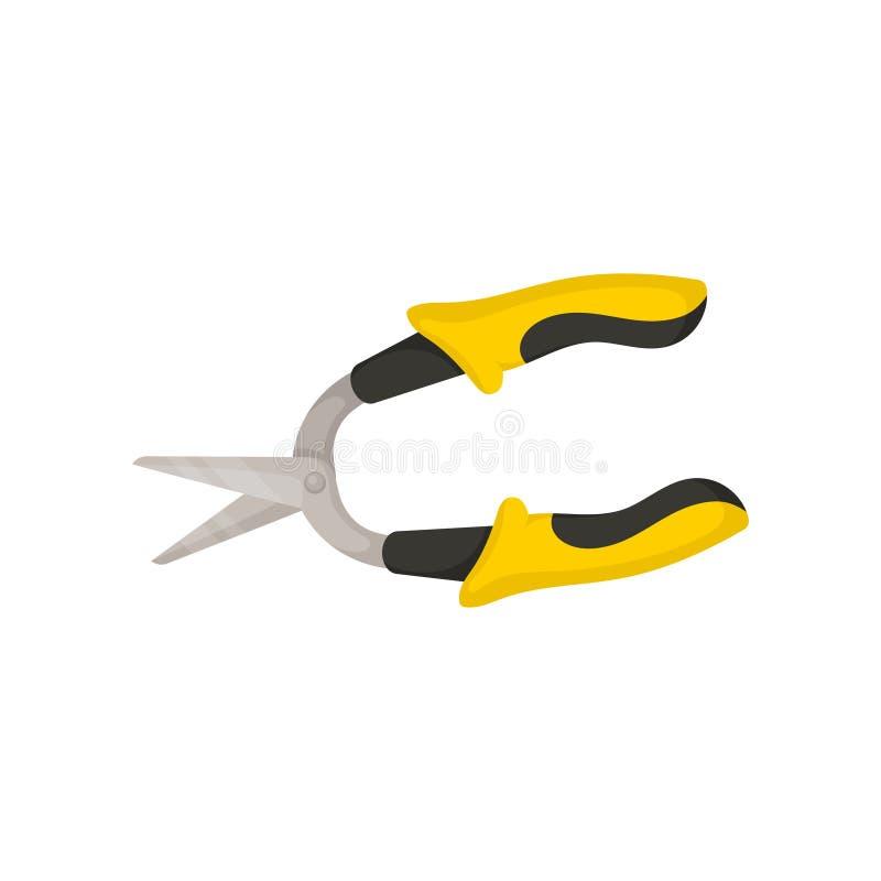 Icona piana di vettore di taglio delle pinze con le maniglie di gomma nero-gialle Attrezzi per bricolage funzionanti Strumento do illustrazione vettoriale
