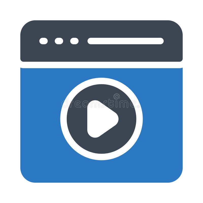 Icona piana di vettore di video del browser colore di glifo royalty illustrazione gratis
