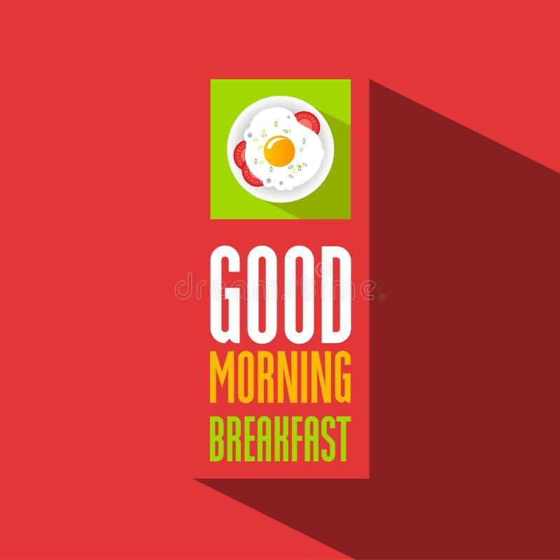 Icona piana e lettere variopinte Manifesto di buongiorno con l'omelette illustrazione di stock