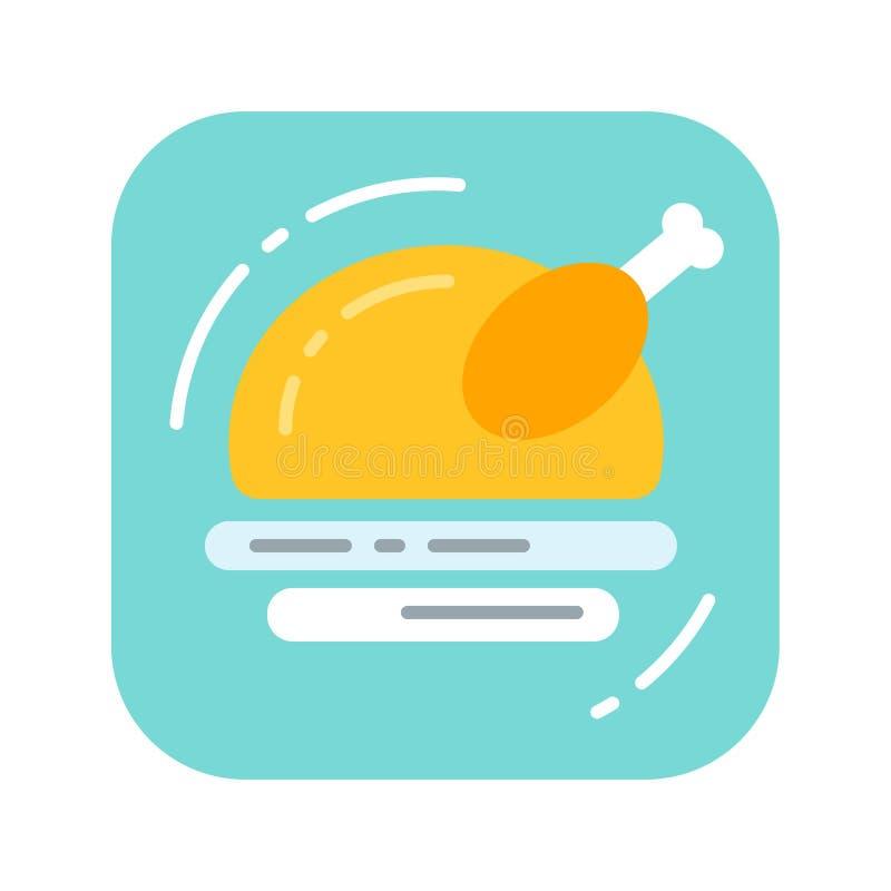 Icona piana fritta di colore del pollame Concetto dell'alimento per la cena di galà royalty illustrazione gratis