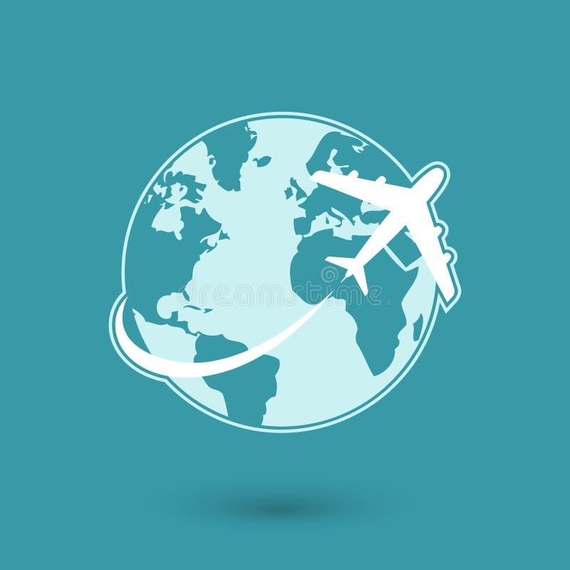 Icona piana globale della rete di viaggio royalty illustrazione gratis