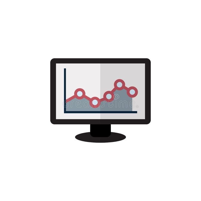 Icona piana isolata del grafico L'elemento di vettore del grafico può essere usato per il monitor, il grafico, concetto di proget illustrazione vettoriale