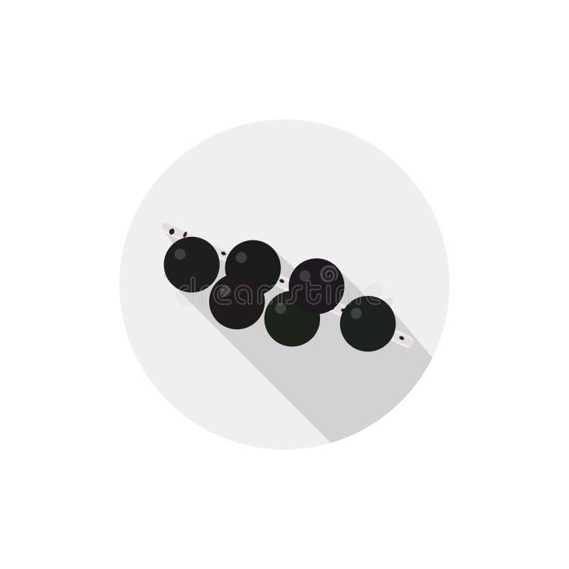Icona piana isolata del vegetariano che mangia le bacche su un fondo bianco Bacche mature di acai Vettore illustrazione di stock