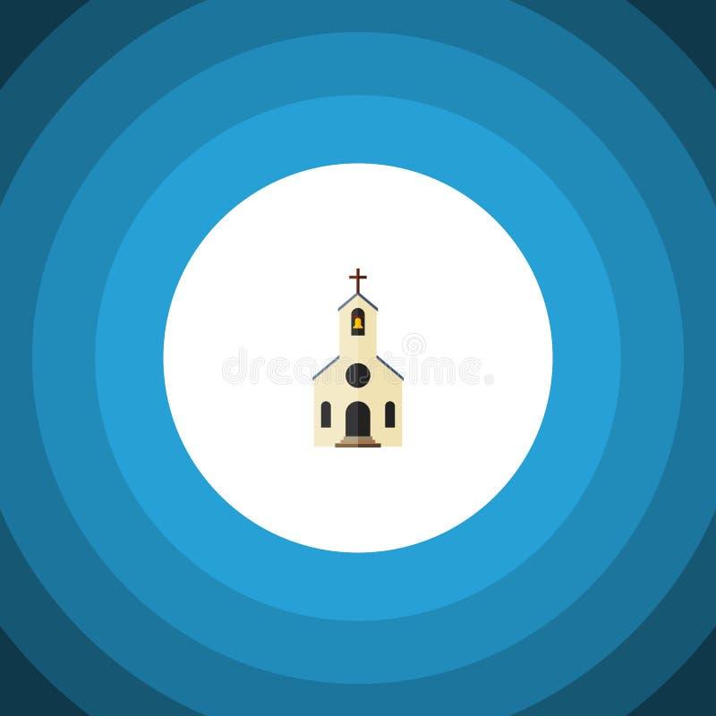 Icona piana isolata della chiesa L'elemento di vettore della costruzione può essere usato per la chiesa, la costruzione, concetto illustrazione vettoriale