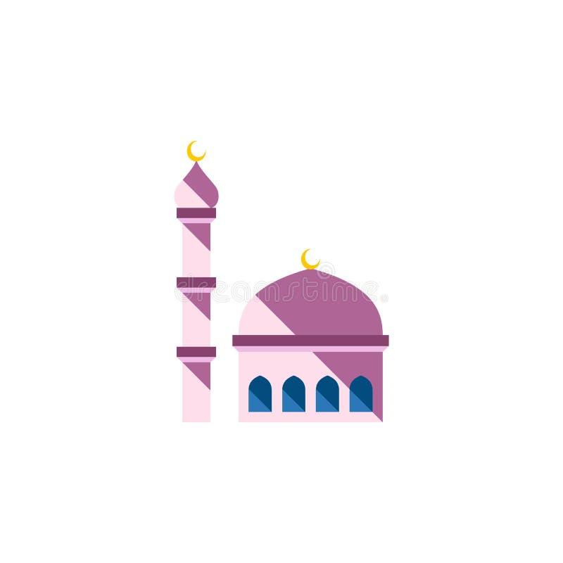 Icona piana isolata della moschea L'elemento di vettore della costruzione può essere usato per la moschea, la costruzione, concet royalty illustrazione gratis