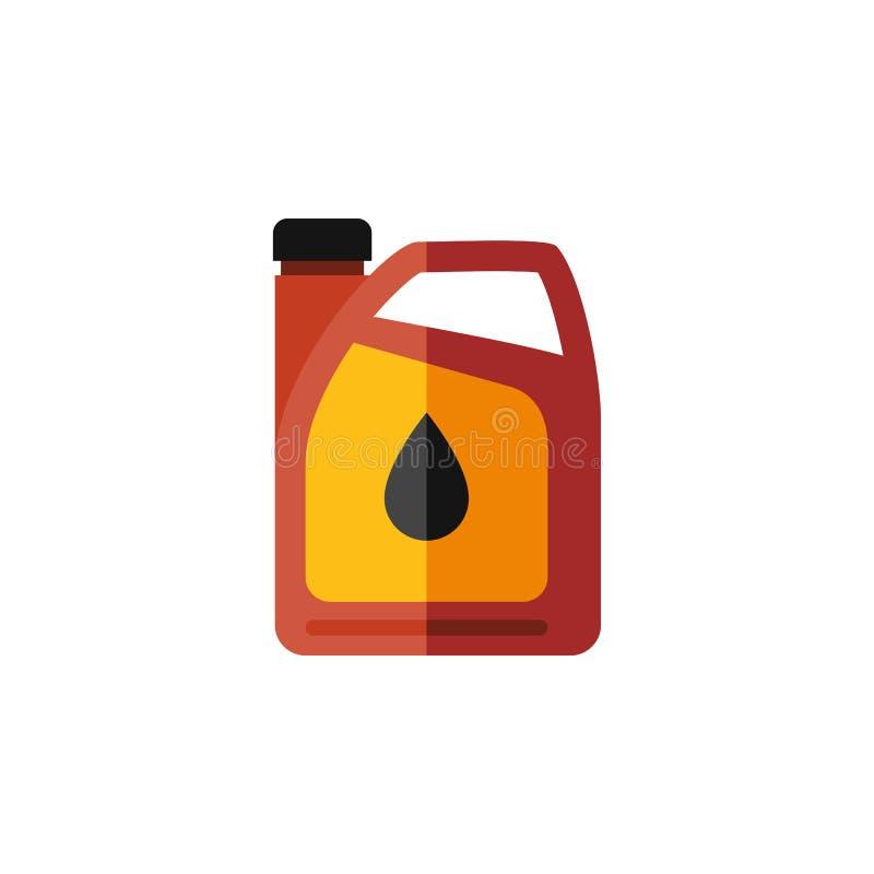 Icona piana isolata della scatola metallica del combustibile L'elemento di vettore della tanica può essere usato per olio, la tan illustrazione vettoriale