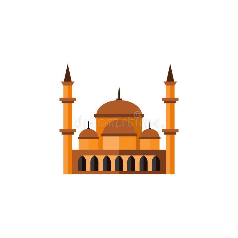 Icona piana isolata di architettura L'elemento di vettore di maomettismo può essere usato per maomettismo, la moschea, progettazi illustrazione vettoriale