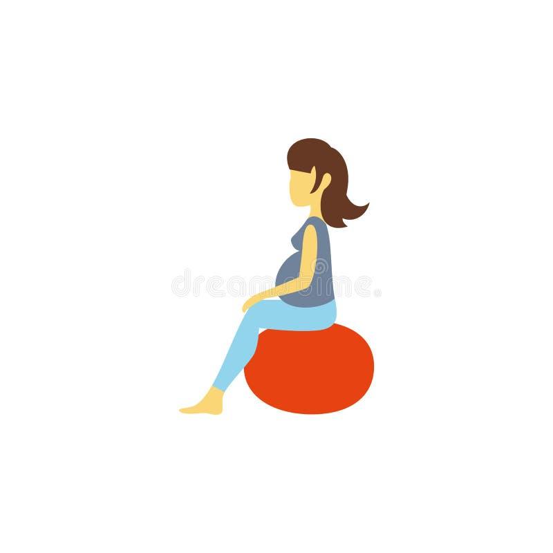 Icona piana isolata di posa L'elemento di vettore di forma fisica può essere usato per forma fisica, incinto, signora Design Conc royalty illustrazione gratis