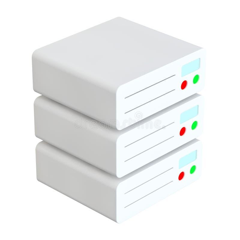 Icona piana isometrica del centro dati del server di rete rappresentazione 3d illustrazione di stock