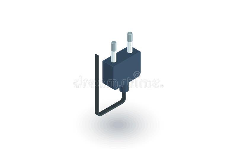 Icona piana isometrica della spina elettrica vettore 3d illustrazione di stock